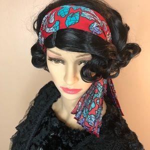 Vintage Red Purple Black Accordion Hair Head Scarf